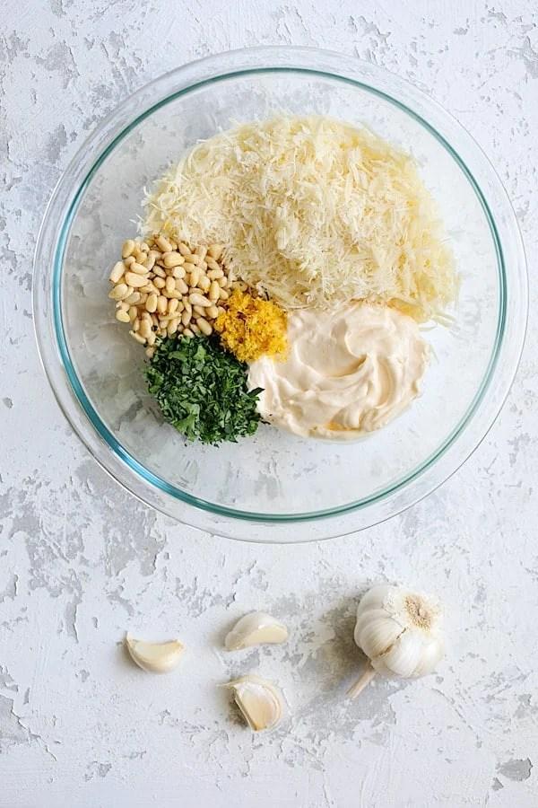 Lemon Parmesan Stuffed Artichoke Bottoms - Overhead shot of ingredients for stuffed artichoke bottoms
