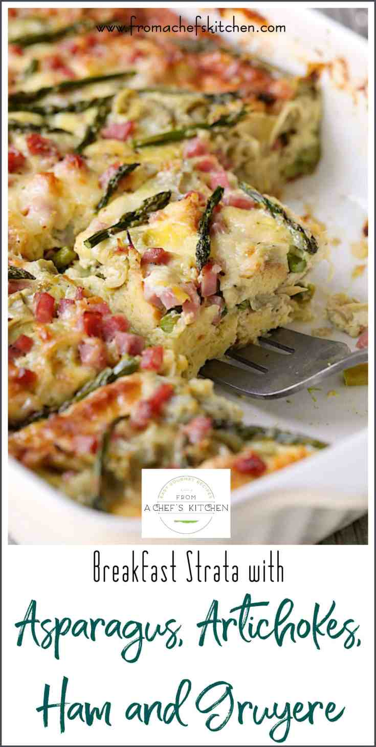 Breakfast Strata with Asparagus, Artichokes, Ham and Gruyere is the perfect French-inspired spring special occasion treat for family and friends and it's super easy! #breakfast #strata #asparagus #artichokes #ham #gruyere #Easter #Easterbrunch