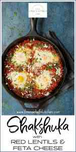 Shakshuka with Red Lentils and Feta Cheese is a heartier twist on traditional shakshuka. Red lentils are smaller than conventional brown or green lentils so they cook faster for a skillet meal that's perfect anytime!
