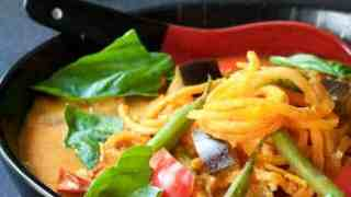 Thai Red Curry with Vegetables and Sweet Potato Noodles