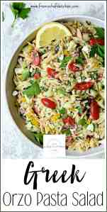 Pinterest image for Greek Orzo Pasta Salad