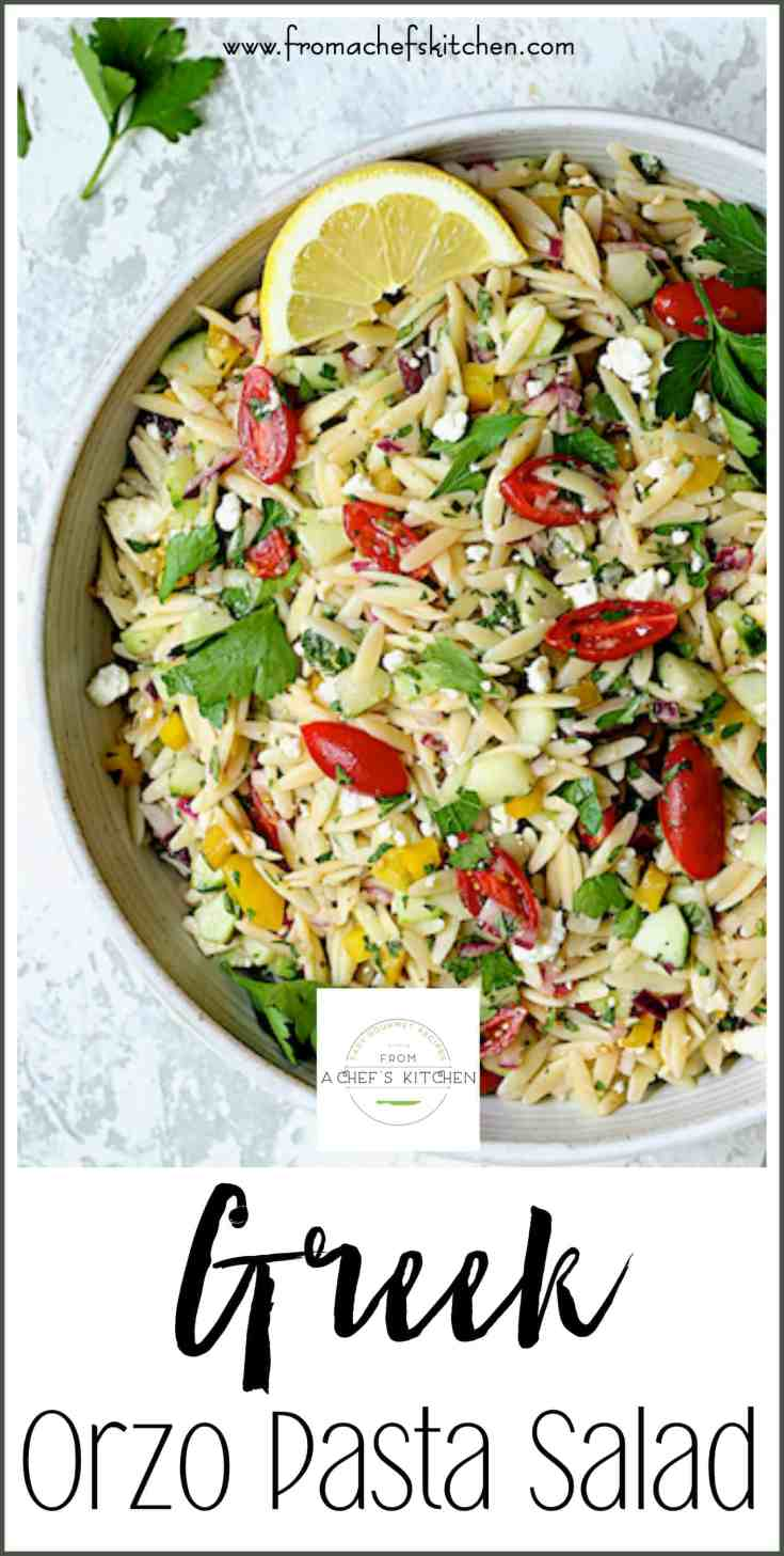 Greek Orzo Pasta Salad is full of fresh, crunchy vegetables and bright, summery flavors!  It's the perfect crowd-pleasing salad to take to your summer get-together. #pasta #pastasalad #orzo #Greeksalad