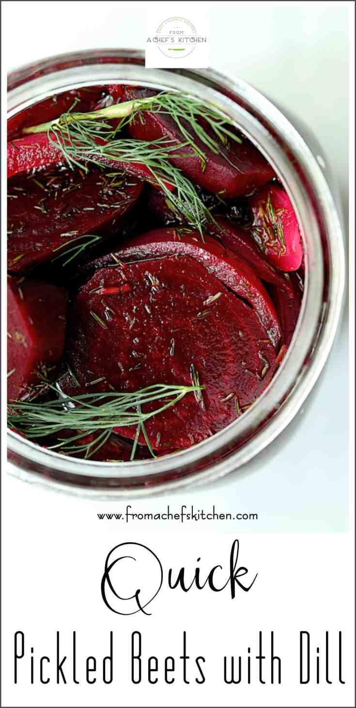 Quick Pickled Beets with Dill are super-simple to make!  Once you make pickled beets yourself, you'll never go back to purchased pickled beets from the supermarket! #beets #pickledbeets #pickles #pickledvegetables