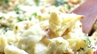 Baked Orecchiette with Cauliflower Bacon and Taleggio