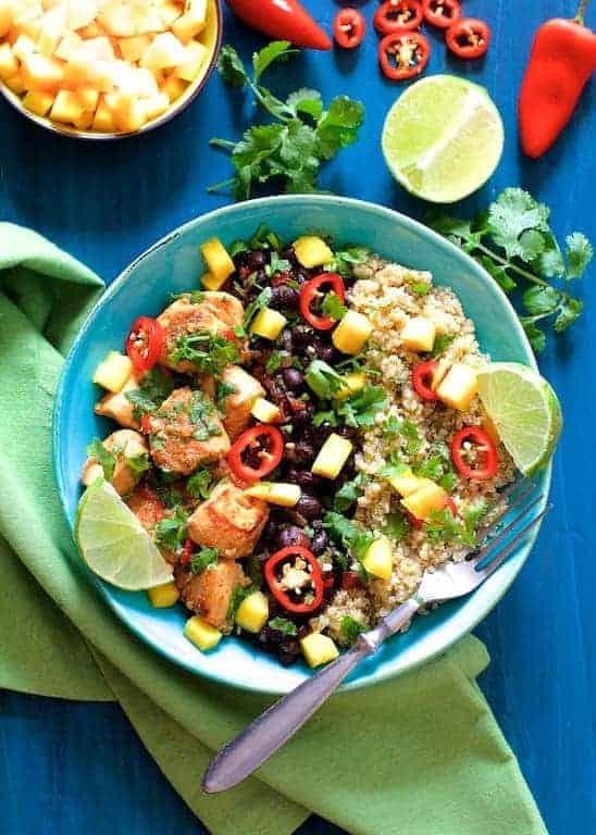 Cuban Chicken and Black Bean - Quinoa Bowls