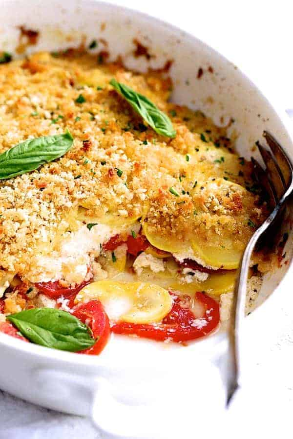 Yellow Squash and Tomato Gratin with Two Cheeses