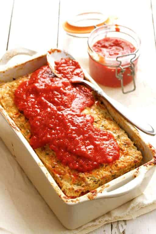Layered Turkey Meatloaf with Roasted Red Pepper Sauce