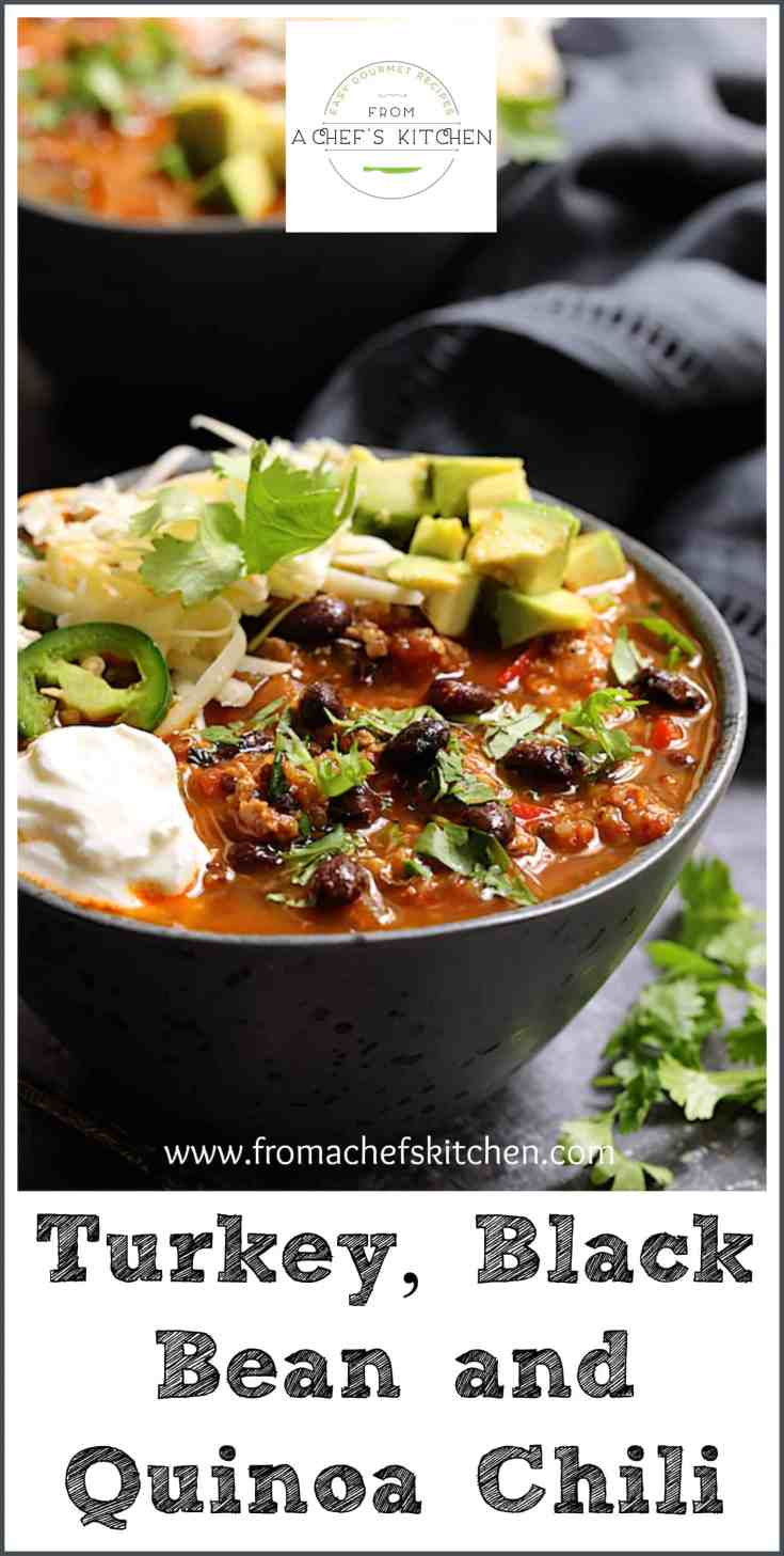 Turkey, Black Bean and Quinoa Chili is healthy, easy to make and one you'll crave all fall and winter long!  It's low in fat with tons of fiber and protein! #healthyfood #chili #turkeychili #blackbean #quinoa #southwestern