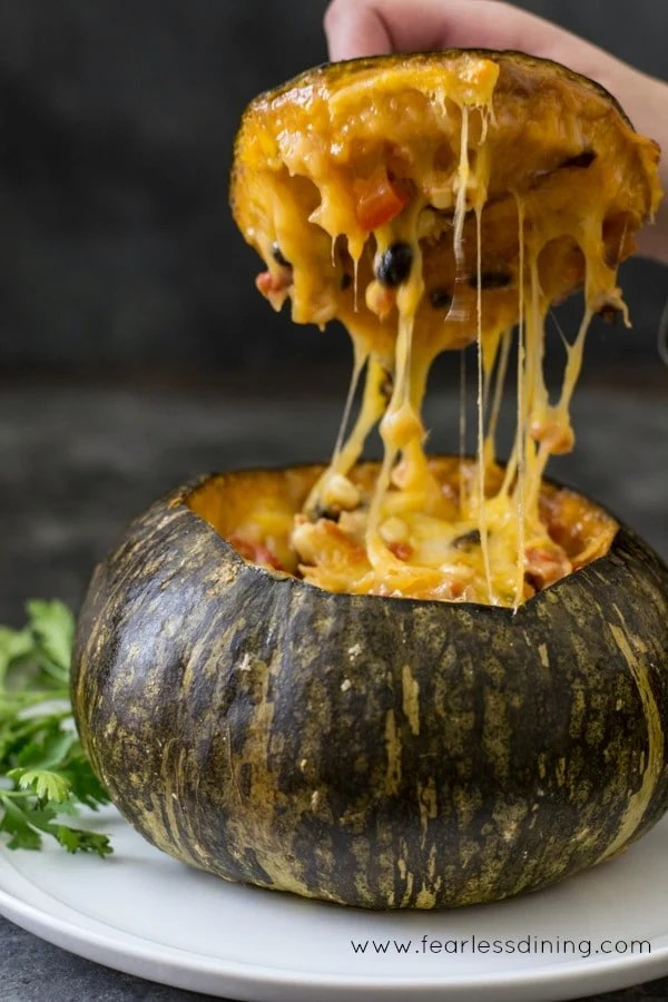 Vegetarian Stuffed Kabocha Squash Recipe {Vegan Option}