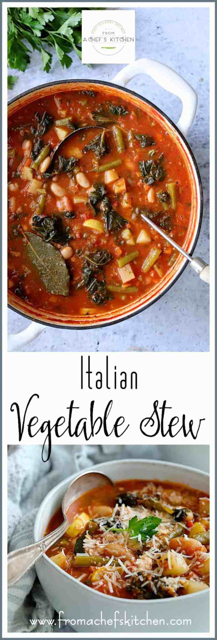 Italian Vegetable Stew is perfect hearty yet healthful, guilt-free comfort food that's loaded with goodness! #Italian #Italianfood #vegetable #vegetablestew #vegetablesoup #healthysoups