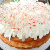 White Chocolate Candy Cane Cheesecake