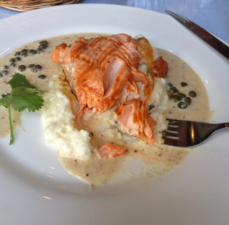 Last Resort Grill Salmon and Grits