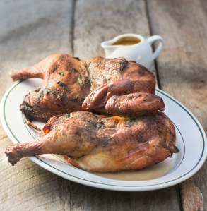 Smoked Chicken with Peach Ginger Barbecue Sauce