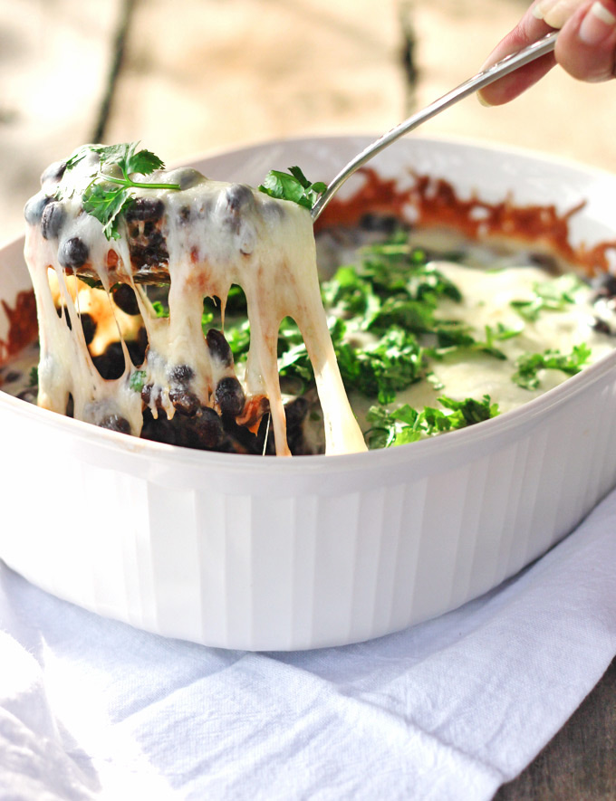 Black Bean and Sweet Potato Enchilada Bake