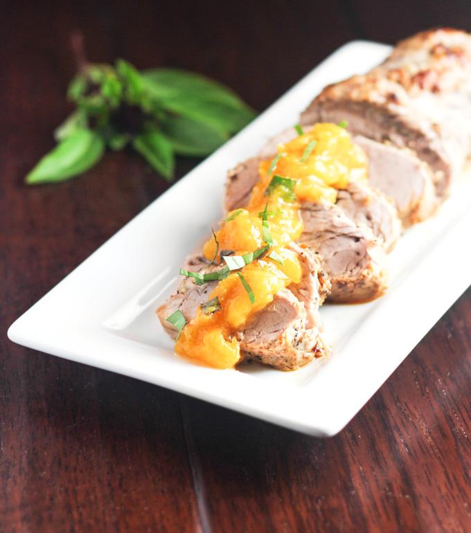 Pork Tenderloin with Peach Basil Compote
