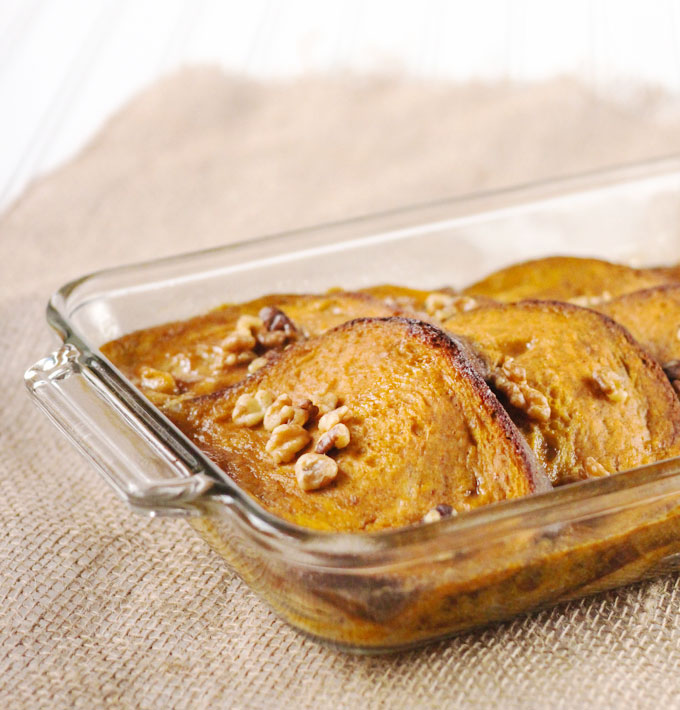 Baked Pumpkin Maple Walnut French Toast