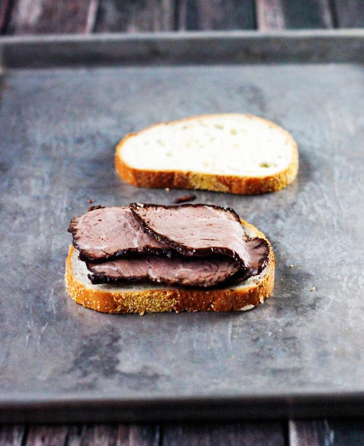 Warm Chipotle Raspberry Smoked Cheddar Roast Beef Sandwich