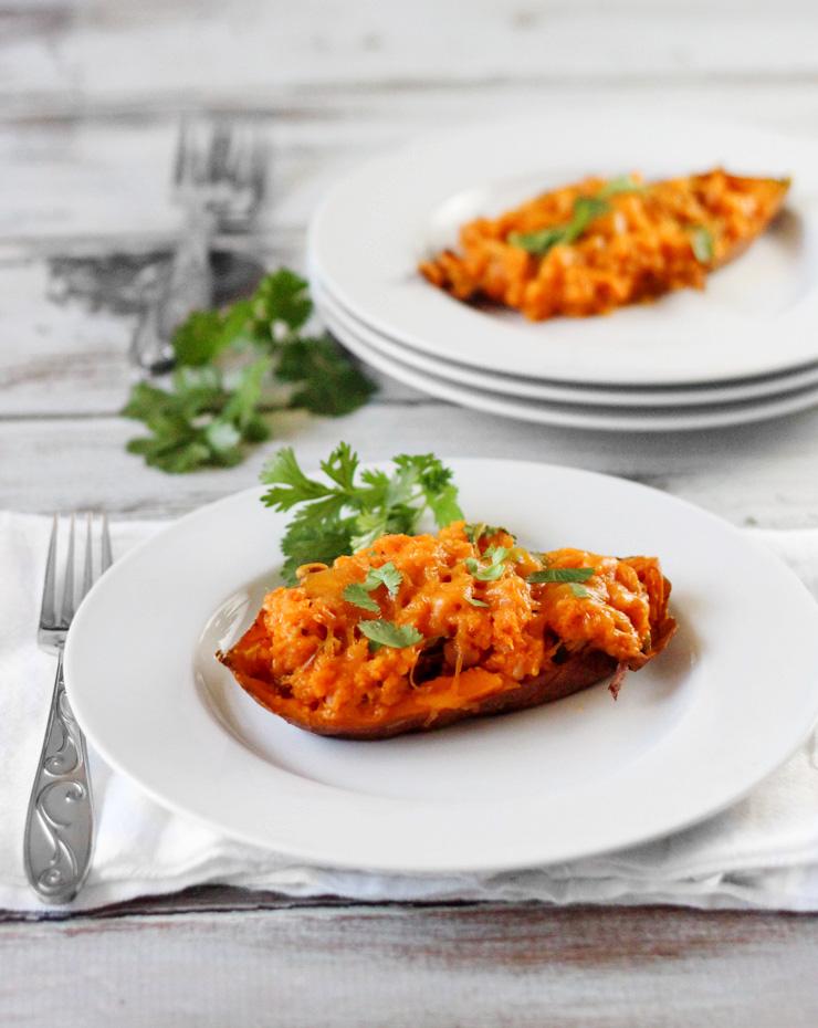 Chipotle Ham Stuffed Sweet Potatoes