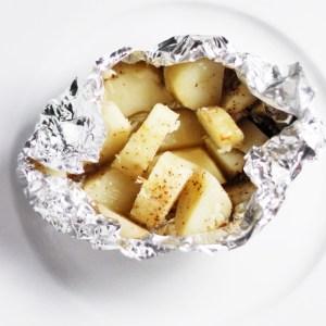 Cubed Potatoes in Foil