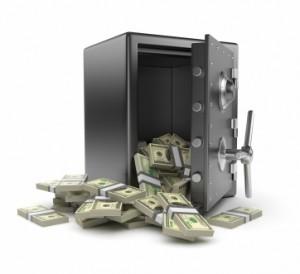 Caja fuerte de acero y dinero.