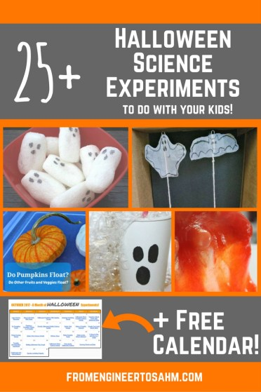 Halloween Science Experiments for kids | A list of over 25 Halloween inspired Experiments to do with your kids + a free calendar!