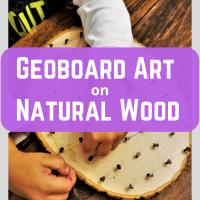 Geoboard Art on Natural Wood