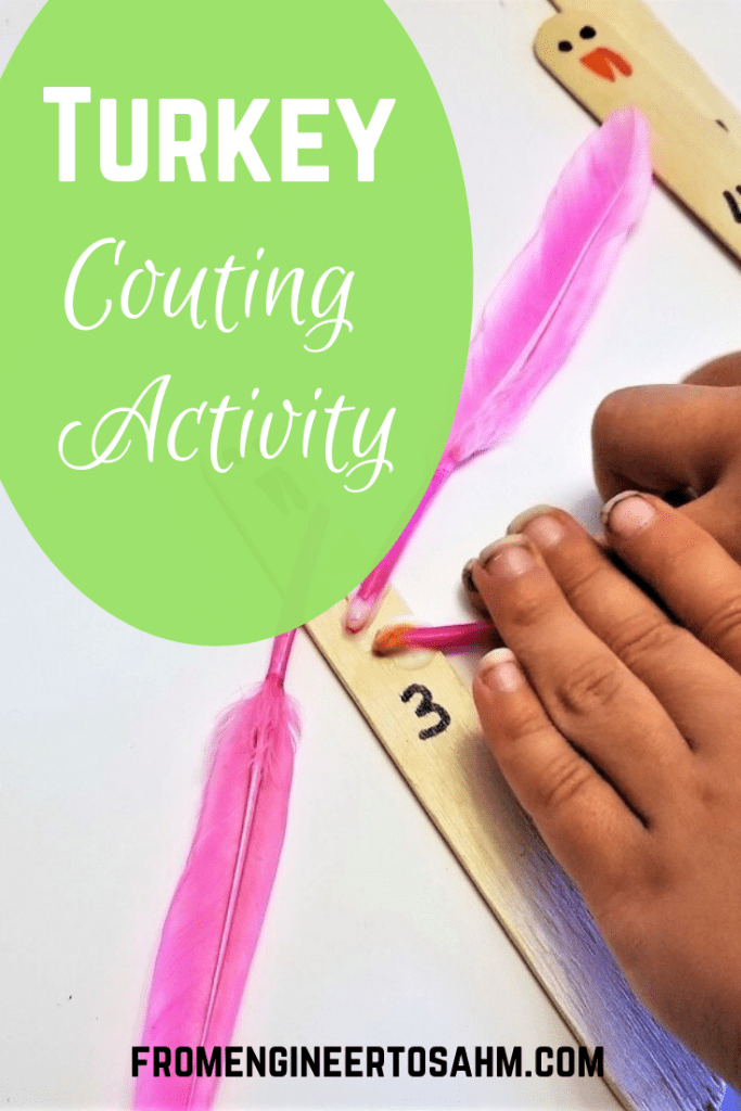 A turkey counting activity! Practice counting to 10 with your kids by making turkeys.