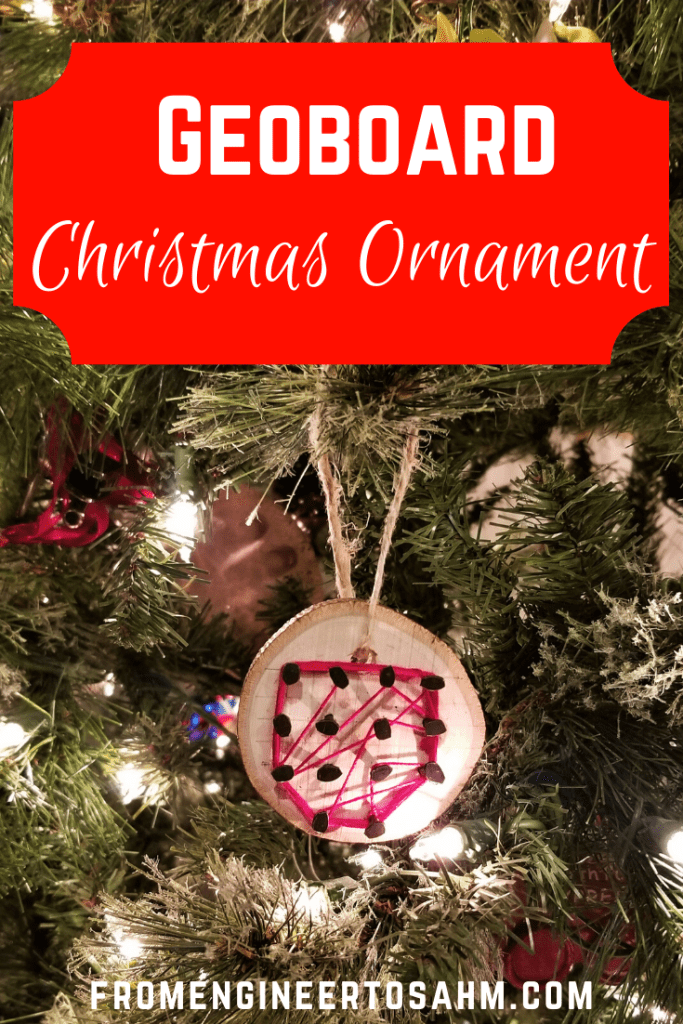 DIY geoboard ornaments for your kids to make this Christmas. My 5 year old loved making his with me, and I loved our little one-on-one time.
