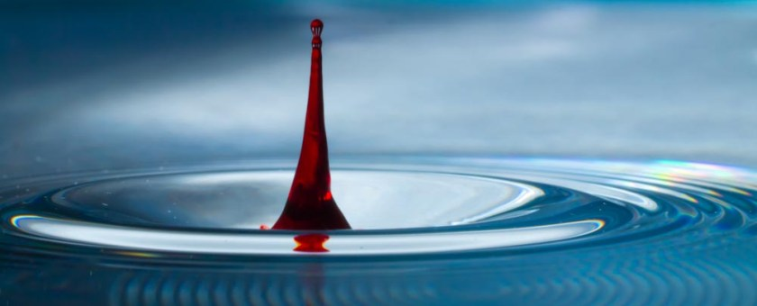 The first drop of red into the clear blue water bowl.