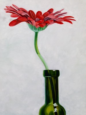 Oil Painting of a red flower in a wine bottle