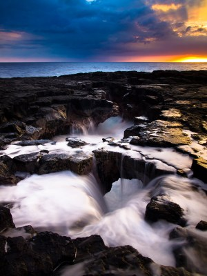 Big Island of Hawaii shoreline sunset at Keahole Point