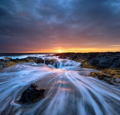Hawaiian sunset from the coastline of Keahole point on the Big Island of Hawaii