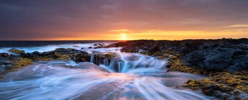 Hawaiian sunset from the coastline of Keahole point on the Big Island of Hawaii