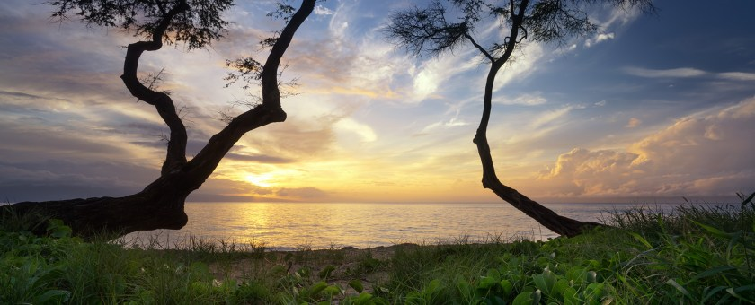 Beautiful sunset from Kaanapali on the island of Maui