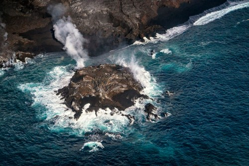 An island formed by the Puna lava flow