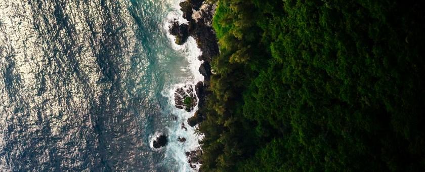 An aerial view of the Nanawale Bay coastline in Pahoa Hawaii.