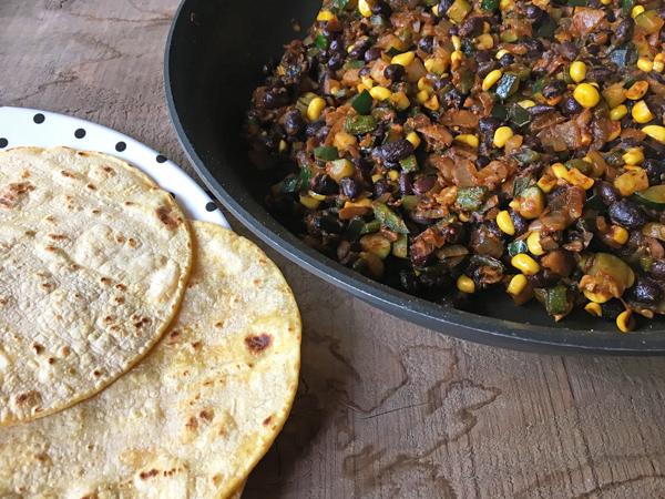 Poblano Corn Black Bean Enchiladas