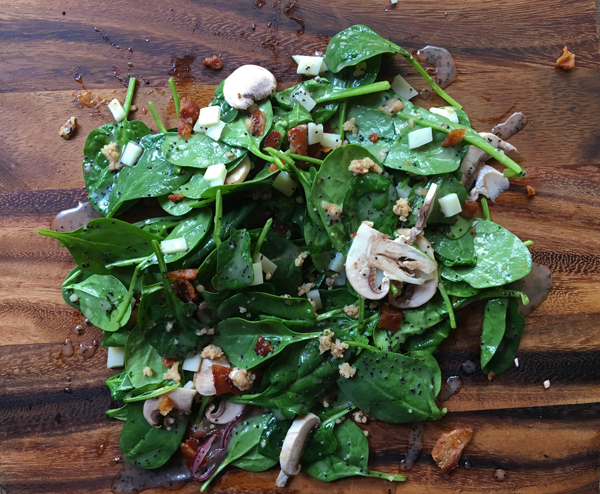 Mushroom Spinach Salad with Almond Crumbs