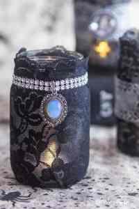 Elegant Gothic Lace DIY Halloween Mason Jar Candle Holders ...