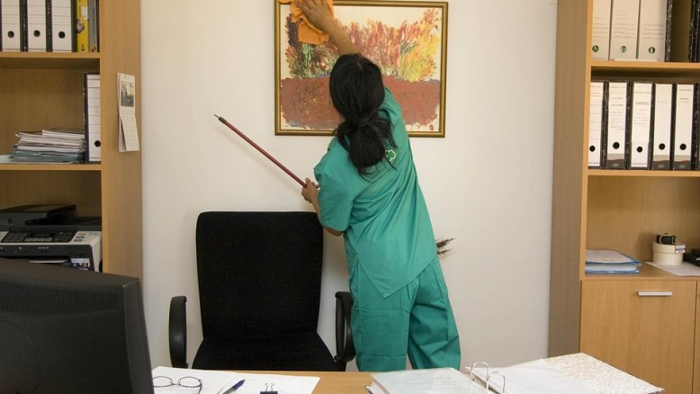 a maid doing cleaning