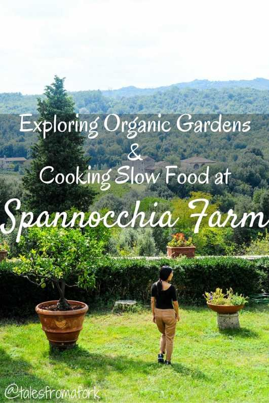 Exploring organic gardens with Carmen and cooking slow food with Loredana at Spannocchia Farm in Italy (by www.talesfromafork.com)