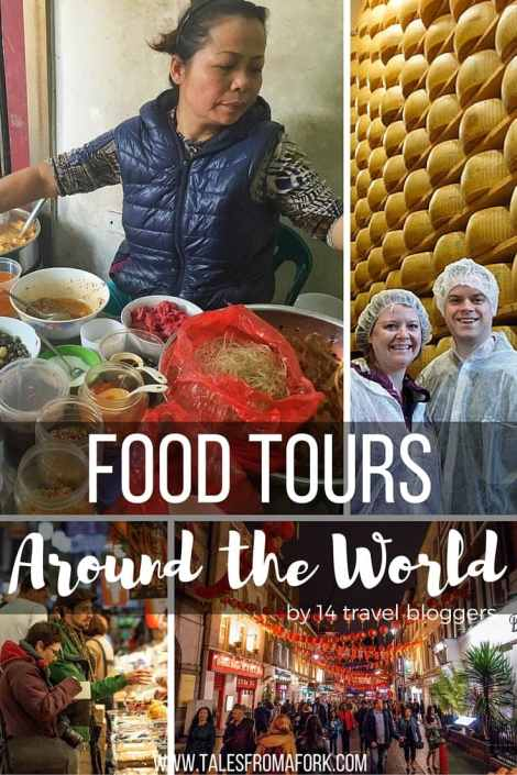 Check out these food tours around the world in Asia, Europe, and North America written by 14 travel bloggers.