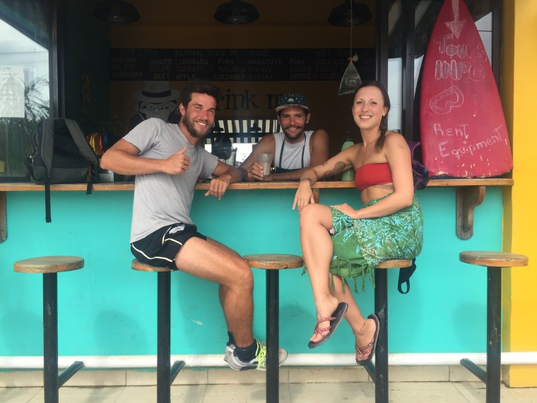 The smoothie bar at Selinas was the perfect spot to get energy for the day and meet other travelers; Fabio from Italy and Will from Venezuela!