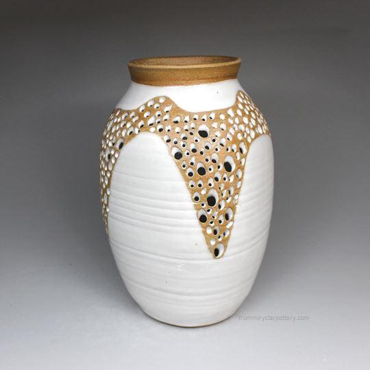 Handmade Pottery Pierced Vase 3002 by From Miry Clay Pottery