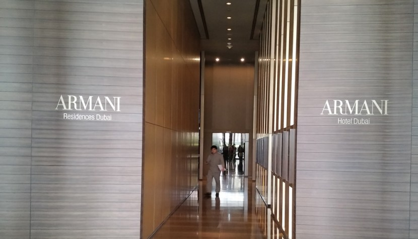 The lobby at the Armani Hotel. Travelling through this corridor takes you toward food heaven.