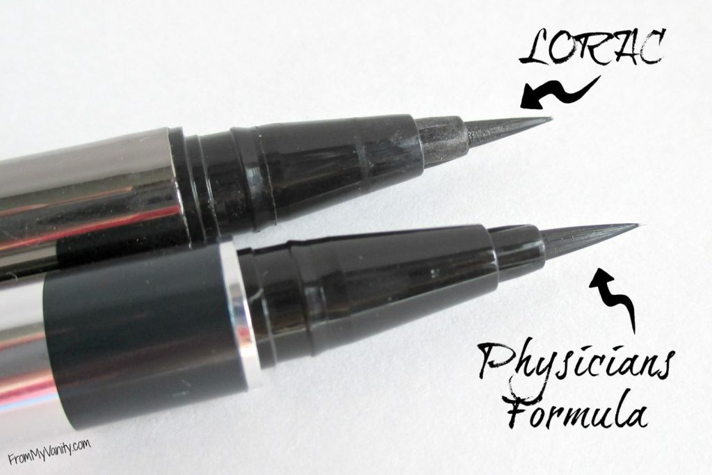 Are They a Dupe or Dud // Lorac VS Physicians Formula Liquid Eyeliners // Brush Tips // From My Vanity