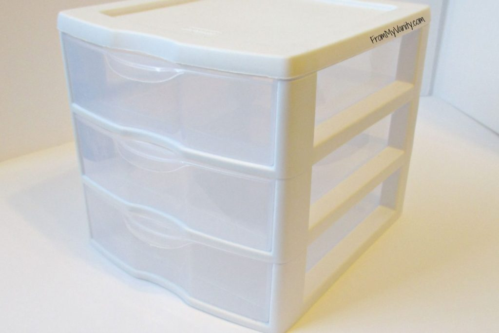 How to Organize Your Samples So You'll Actually Use Them // Small White Plastic Drawer // From My Vanity