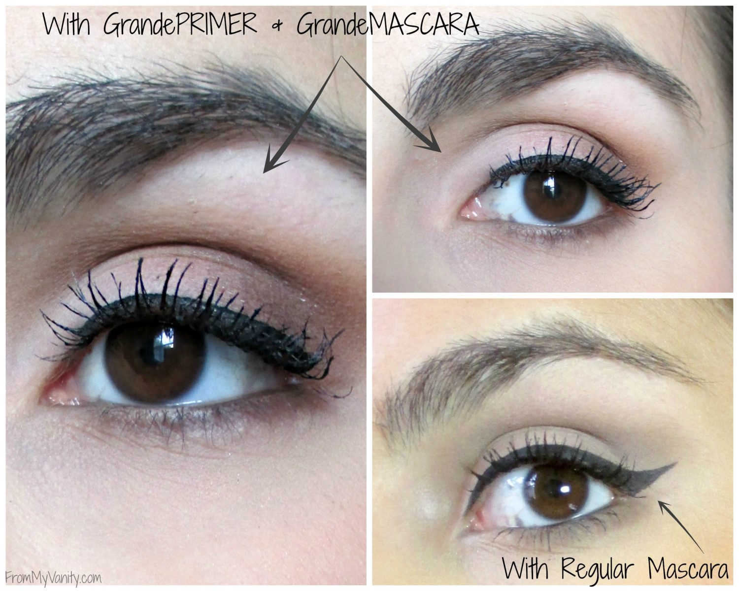 Grande Lash MD's GrandeLASH, GradePRIMER, and GrandeMASCARA Review // Pictures Showing Lashes with and without GrandePrimer and GrandeMASCARA // #GrandeLashMD #LongLashes// FromMyVanity.com