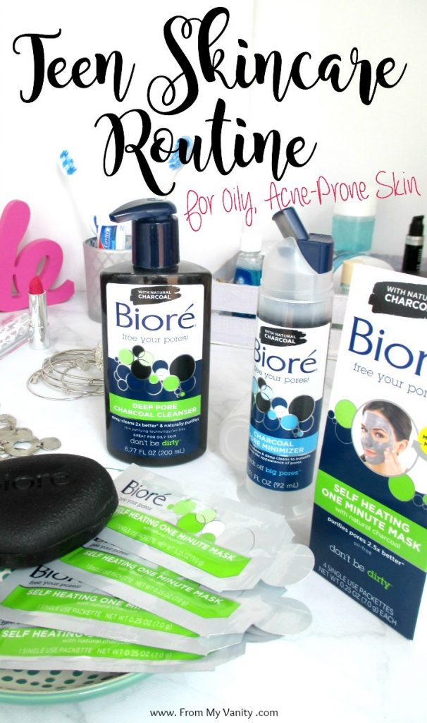 Bioré's charcoal line comes to the rescue for this easy teen skincare routine that is perfect for oily, acne-prone skin! | #ad #BioreCharcoal