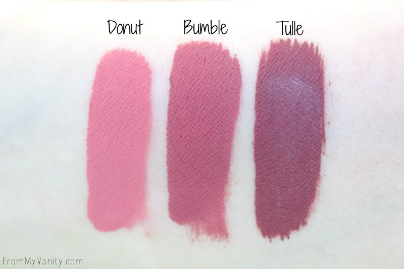 Arm swatches of the Ultra Matte Lips from Colourpop